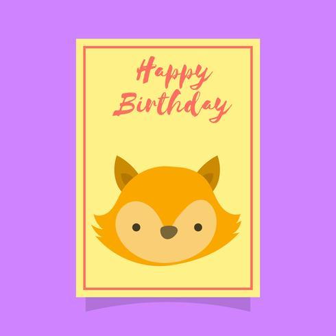 Flat Cute Fox Birthday Animal Greetings Vector Template
