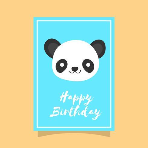 Platte schattige Panda Happy Birthday dierlijke groeten Vector sjabloon
