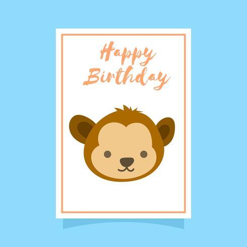 Flache nette Affe-alles- Gute zum Geburtstagtiergruß-Vektor-Schablone