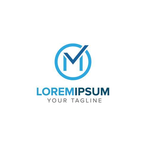Design de conceito do criativo carta M Checklist logotipo