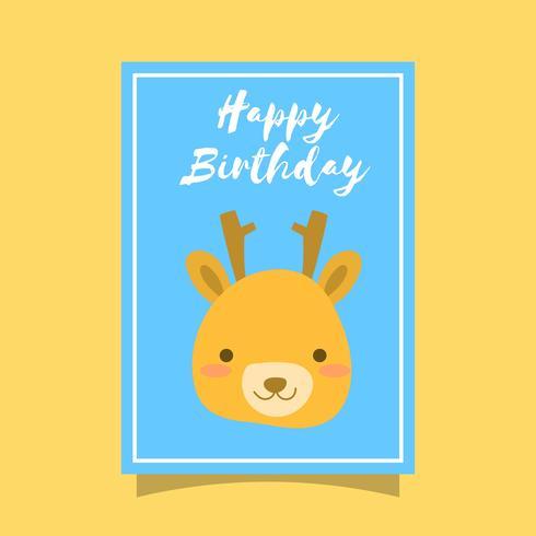 Plano lindo ciervo feliz cumpleaños animal saludos plantilla Vector