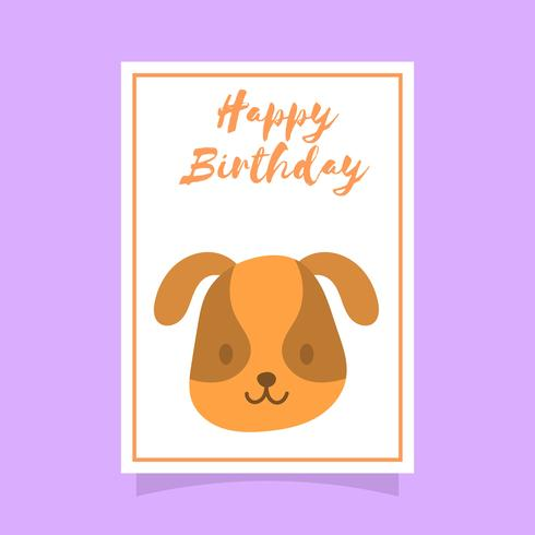 Flat Cute Dog Happy Birthday Animal Greetings Vector Template
