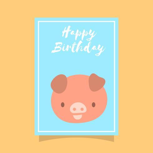 Flat Cute Pig Grattis på födelsedagen djur hälsningar vektor mall
