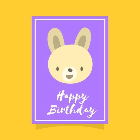 Modelo de vetor de saudação animal plana coelho feliz aniversário Saudações