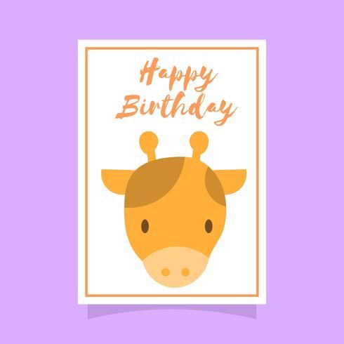 Flat Giraff Grattis på födelsedagen djur hälsningar vektor mall