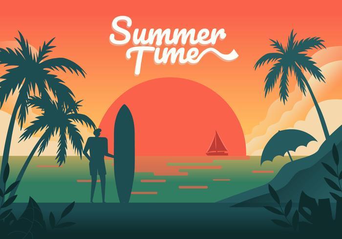 Solnedgång på sommar strand bakgrund Vektor illustration