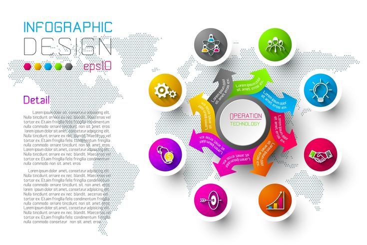 Business colorful labels shape infographic circles bar. vector