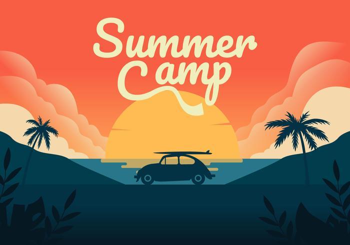 Sumer Camping Vector Background Illustration