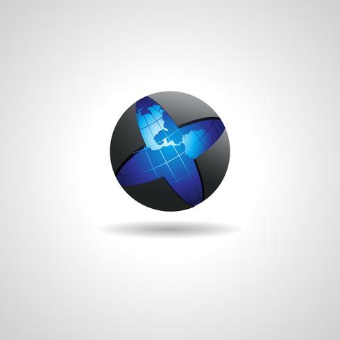 Logotipo de globo Concepto vectorial Ilustración de logotipo de vector de globo abstracto