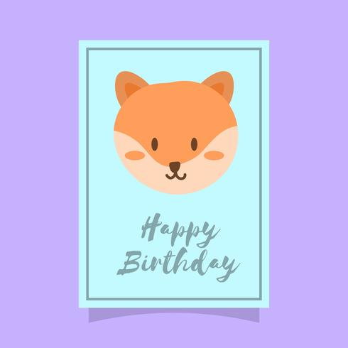 Flat Cute Fox Happy Birthday dierlijke vectorillustratie