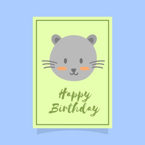 Flat Cute Cat Happy Birthday Animal Greetings Vector Template