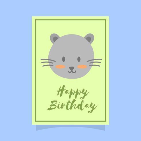 Platte schattige kat Happy Birthday dierlijke groeten Vector sjabloon