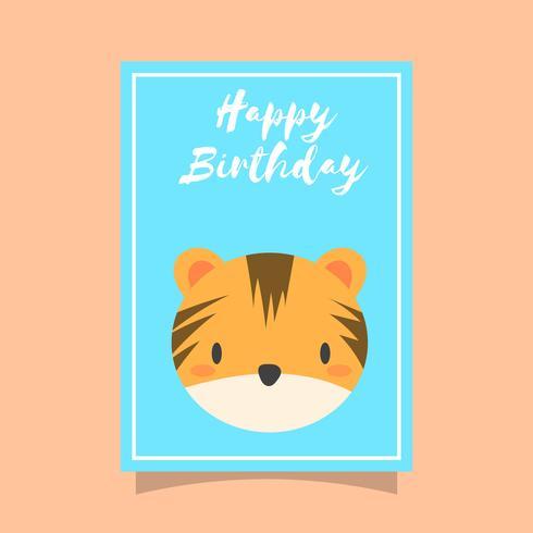 Platt söt tiger grattis på födelsedagen djur hälsningar vektor mall