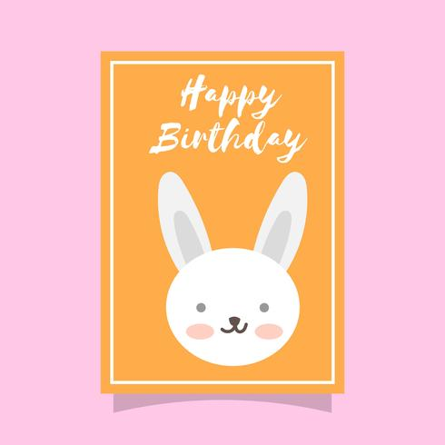 Flat Cute Rabbit Happy Birthday Animal Greetings Vector Template