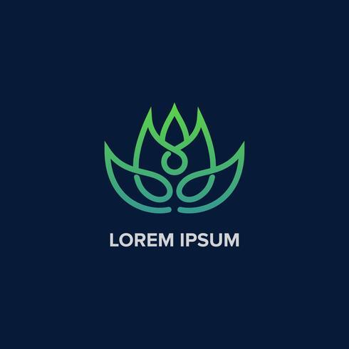 Logotipo de folha de ioga criativa