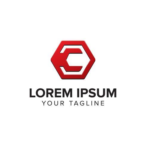 Criativa letra C logotipo conceito design com formas hexagonais