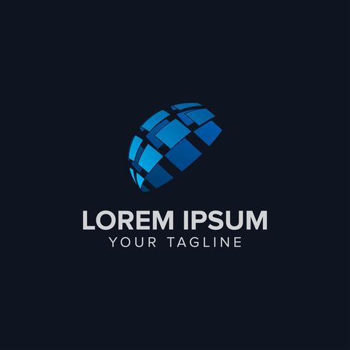 Design de conceito de Design de logotipo de tecnologia criativa com cor azul