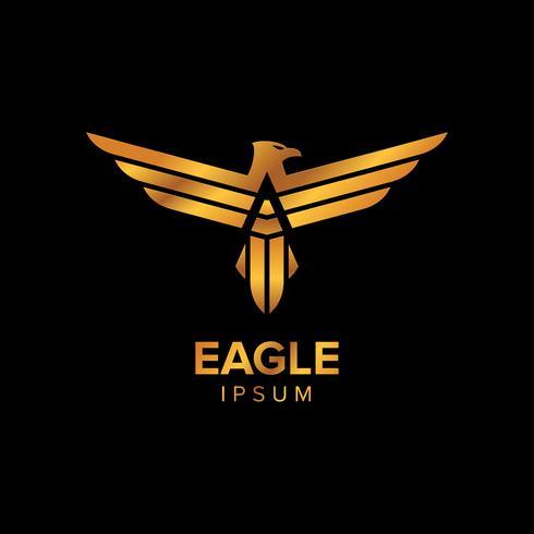 Progettazione di massima di progettazione creativa di logo di Eagle di lusso con colore dell'oro