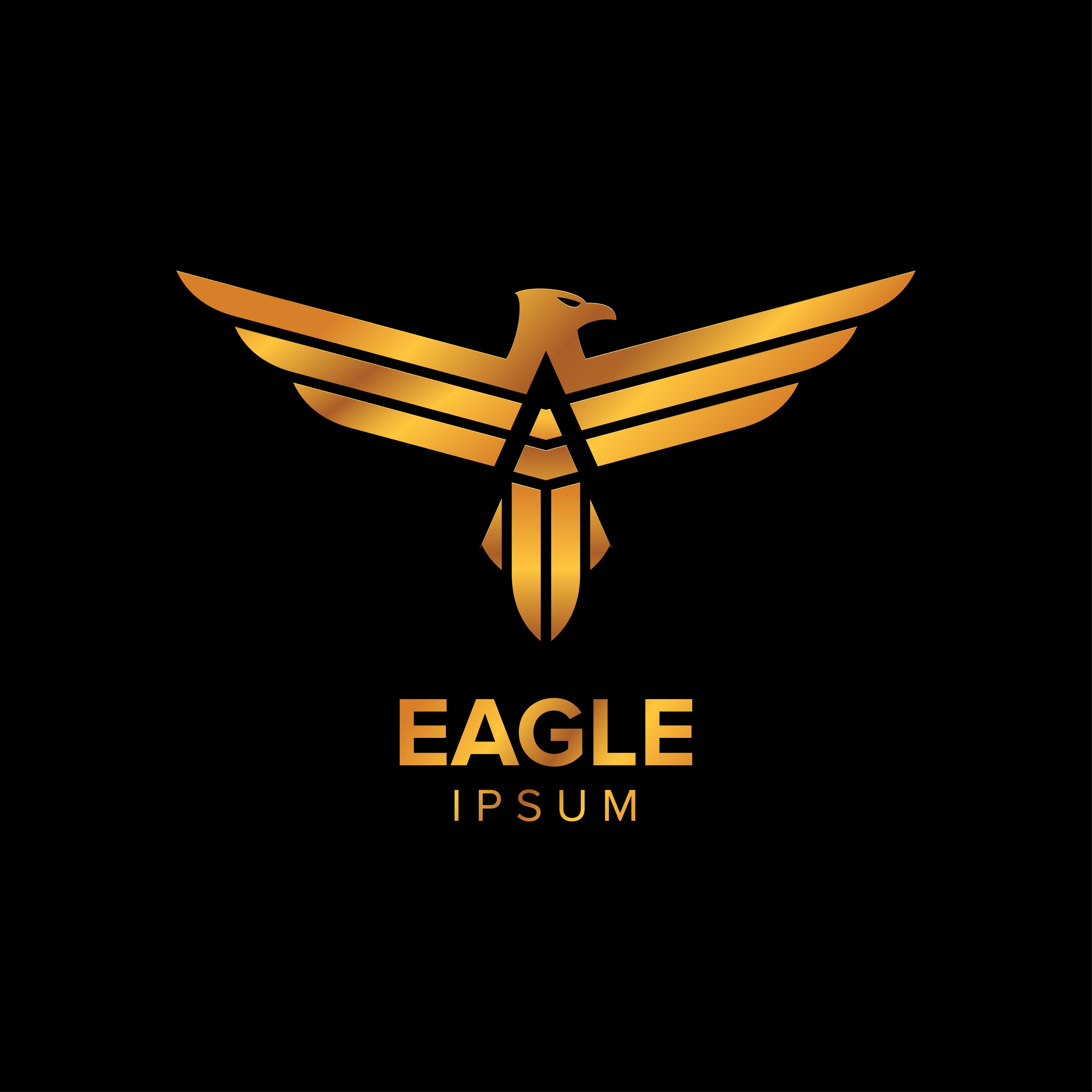 Creative Luxury Eagle Logo Design Concept Design With Gold