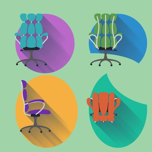 Cadeira de quatro direções com design plano