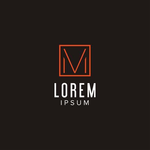 Kreativ brev M logo koncept design med fyrkantig form