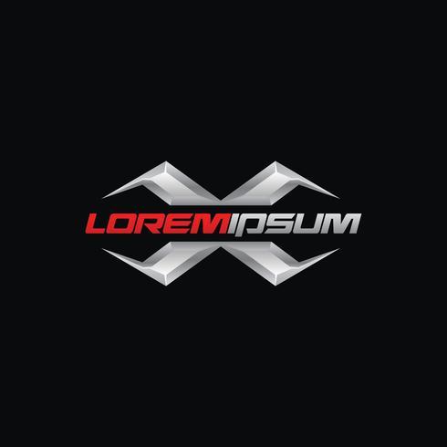 Design de conceito de logotipo criativo letra X com cor cromo