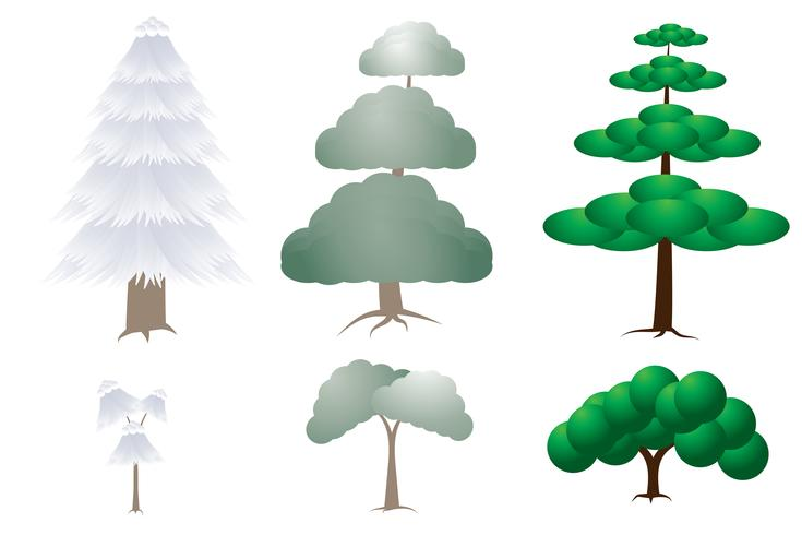 Fundo de coleção de árvore branca