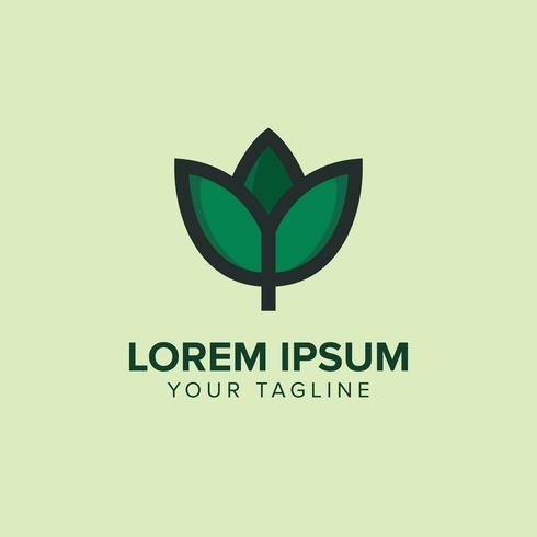 flor de folha Logo Design Concept