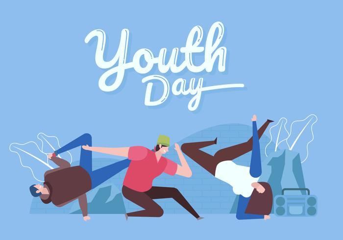 firar internationell ungdomsdag platt vektor