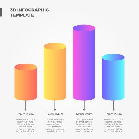 Elementos planos del vector de la infografía del tubo de la barra del círculo 3D