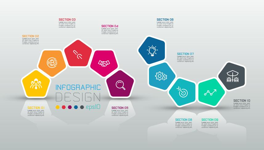 Pentagonaufkleber infographic auf Vektorkunst.