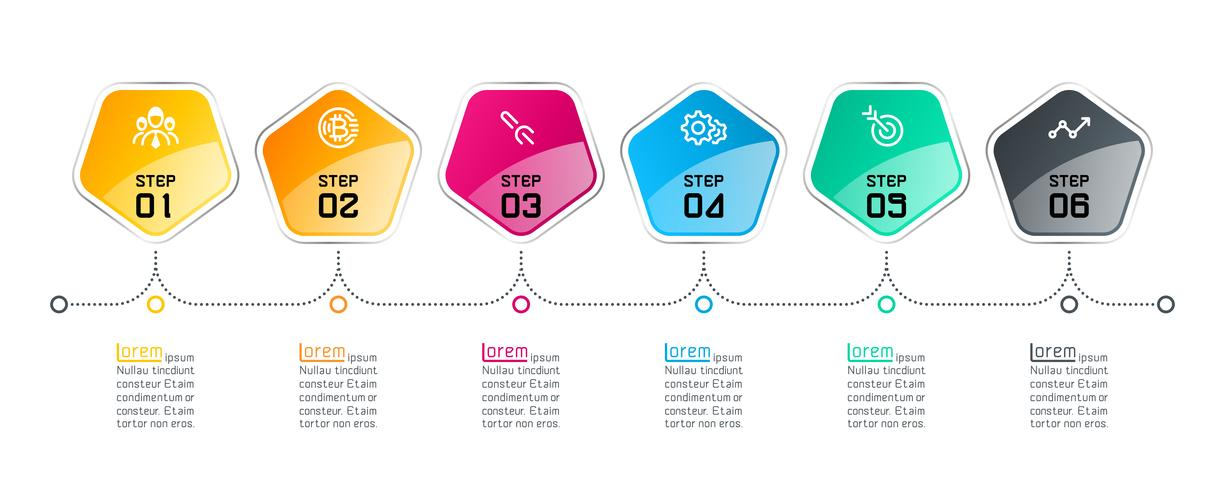 Pentagons label infographic with 6 steps