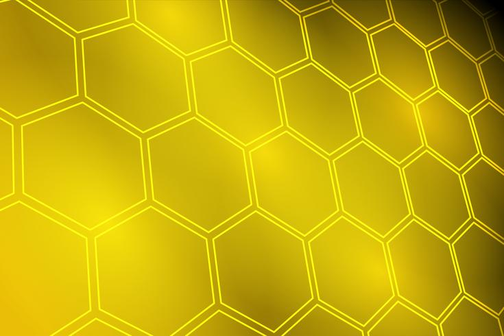 Fundo de hexágono amarelo dourado brilhante