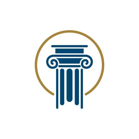 Progettazione dell'illustrazione del modello di logo dello studio legale della colonna. Vettore ENV 10.