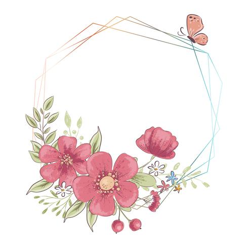 Modelo de aquarela para uma festa de casamento de aniversário com flores e espaço para texto. Desenho à mão. Ilustração vetorial