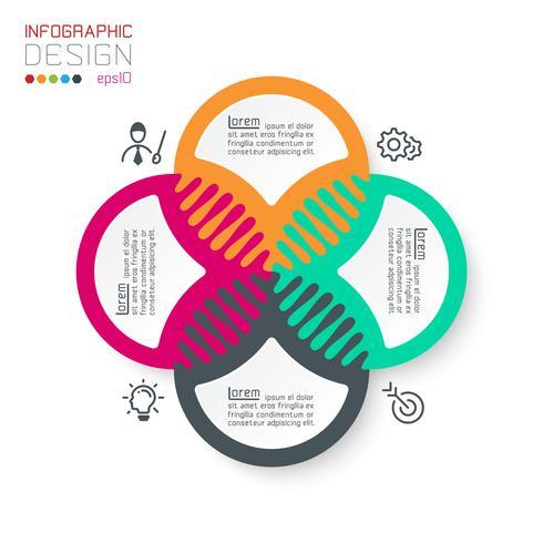 Cuatro infografías de círculo armonioso. vector