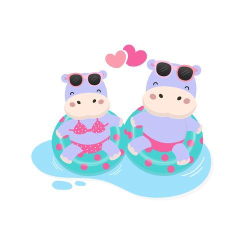 Buone vacanze estive. Ippopotamo sveglio delle coppie indossano il fumetto dell'anello di nuotata e del bikini.