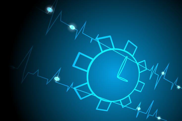 Linha de luz do relógio vida fundo azul