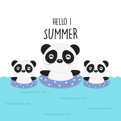 Hallo niedlicher Panda-Cartoon des Sommers.