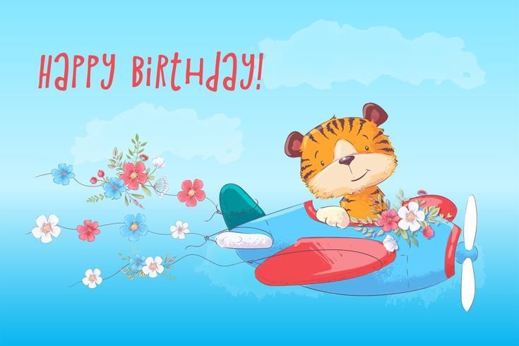 Tigre bonito do cartaz do cartão no plano no estilo dos desenhos animados. Desenho à mão.