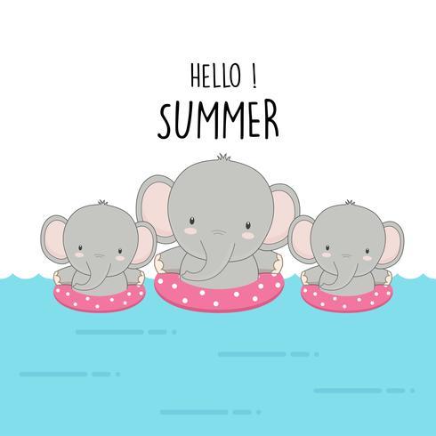 Olá Verão elefante bonito dos desenhos animados.