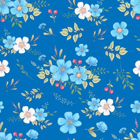 Flores silvestres de patrones sin fisuras. Dibujo a mano ilustración vectorial