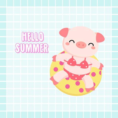 Willkommen Sommer niedlichen Schwein waren Bikini und Schwimmring Cartoon. vektor