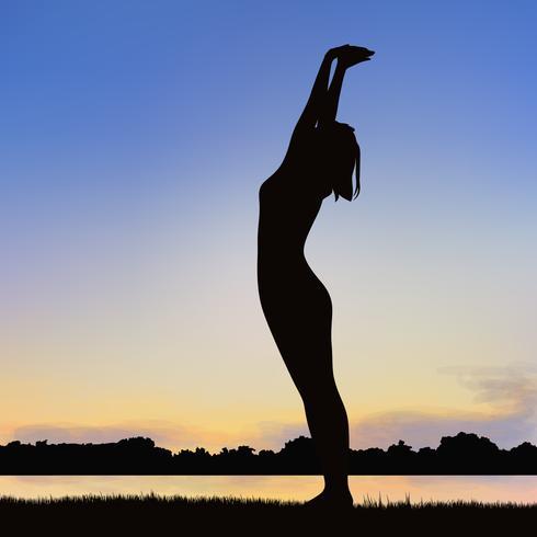 Immagine della siluetta della signora nella posizione di yoga. vettore