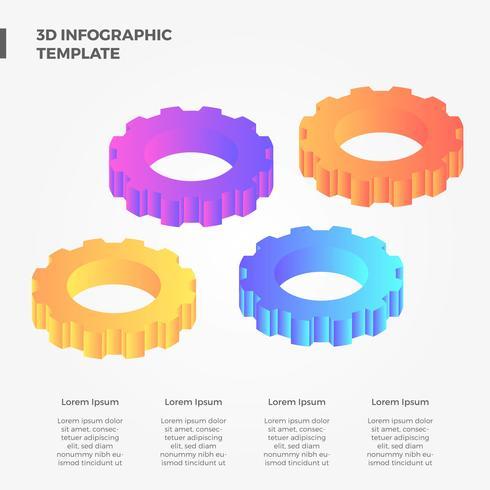 Colección de vectores de engranajes infografía plana 3D