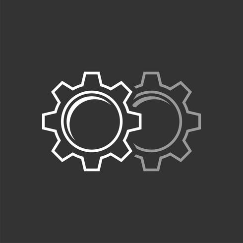 Projeto da ilustração do molde do logotipo da engrenagem. Vetor eps 10