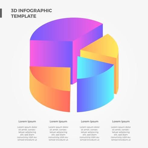 Flache 3D Infographik Vektor Sammlung