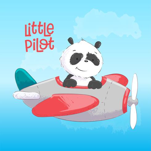 Postcard poster cute panda on the plane in cartoon style. Hand drawing.