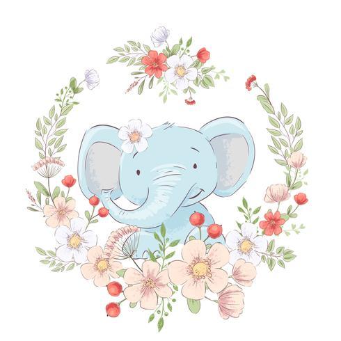 Cartaz cartão postal elefante pequeno bonito em uma coroa de flores. Desenho à mão. Vetor