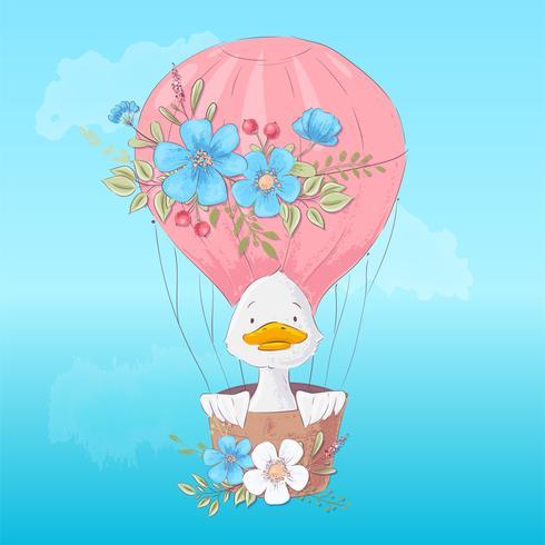 Cartel de postal de un lindo patito en un globo con flores en estilo de dibujos animados. Dibujo a mano.